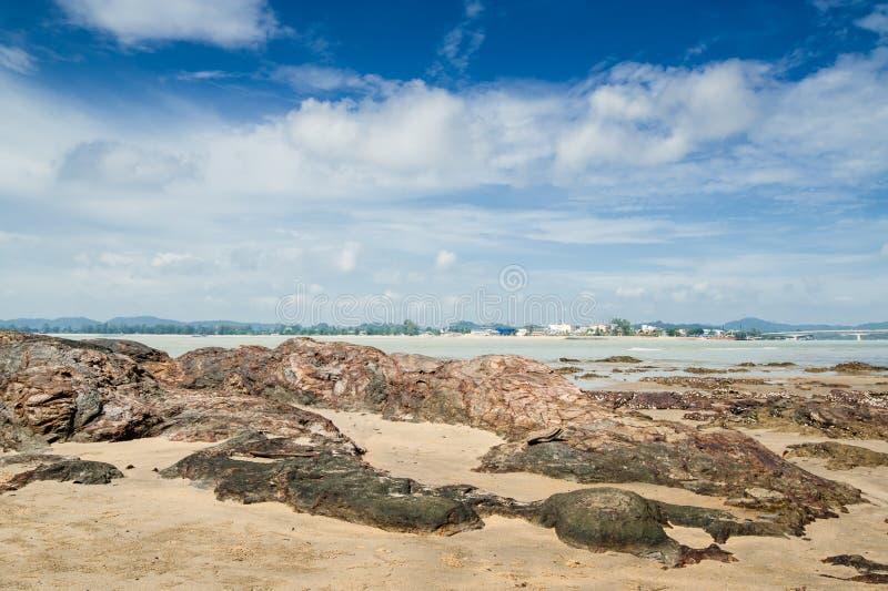 Dungun Beach. View of rocky beach at Dungun, Terengganu stock images
