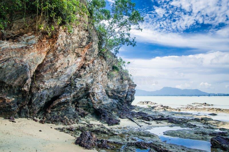 Dungun Beach. View of rocky beach at Dungun, Terengganu royalty free stock photos