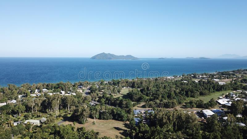 Dunk island. Veiw of dunk island looking over mission beach stock photo