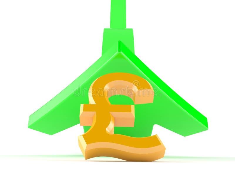 Dunka valutasymbolet med den gröna pilen som går upp vektor illustrationer