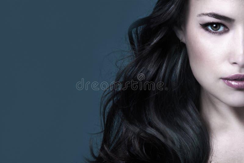 Dunkel-lange Haar Schönheit Frau Portrait halbe Gesicht stockfotografie