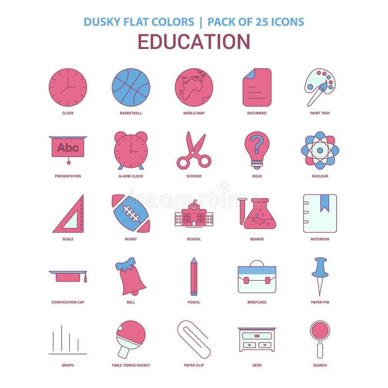 Dunkel plan färg för utbildningssymbol - symbolspacke för tappning 25 vektor illustrationer