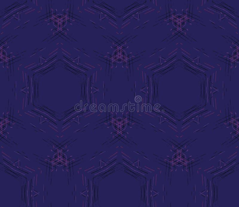 Dunkel sömlös modell för abstrakt begrepp av linjer på en blått royaltyfri illustrationer