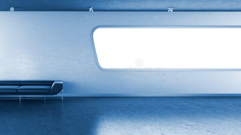 Dunkelblaue Couch im interrior Wand-Fenster copyspace lizenzfreie abbildung