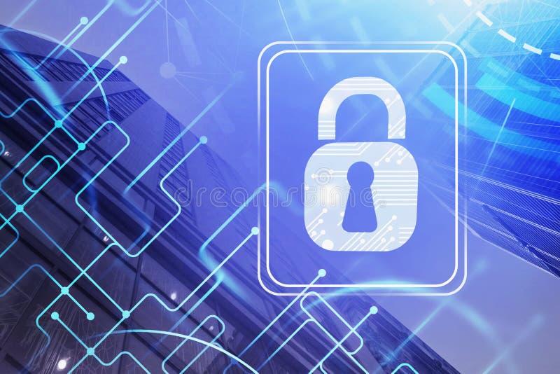 Dunkelblaue digitale Sicherheitsschnittstelle stock abbildung