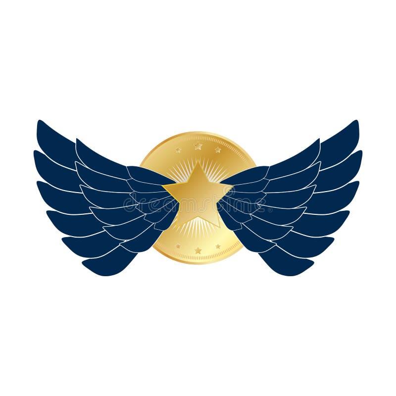 Dunkelblaue Eagle-Flügel werden mit Goldsternen deutlich Flügelemblemausweis mit großem Goldstern im Goldkreisvektor eps10 stock abbildung