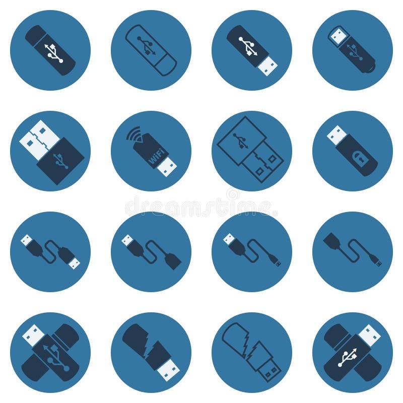 Dunkelblaue flache Ikonen USB-Vektors lizenzfreie abbildung