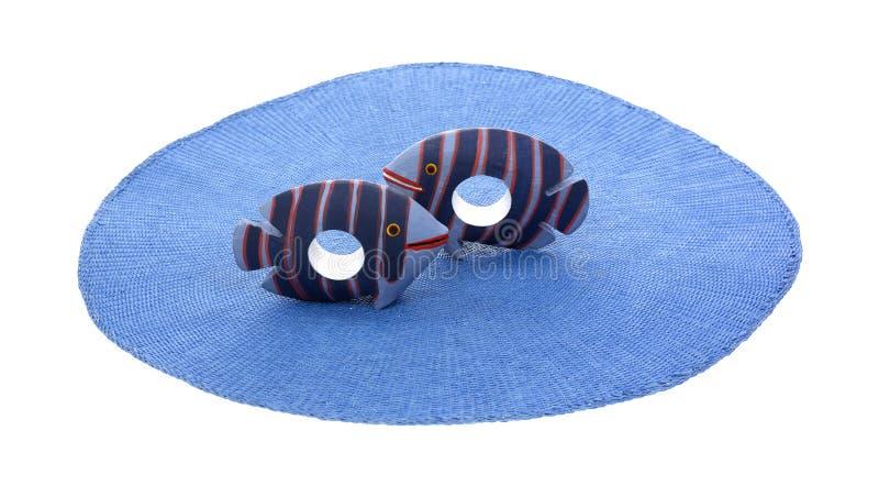 Dunkelblaue gestreifte Fisch-Servietten-Halterungen lizenzfreie stockbilder