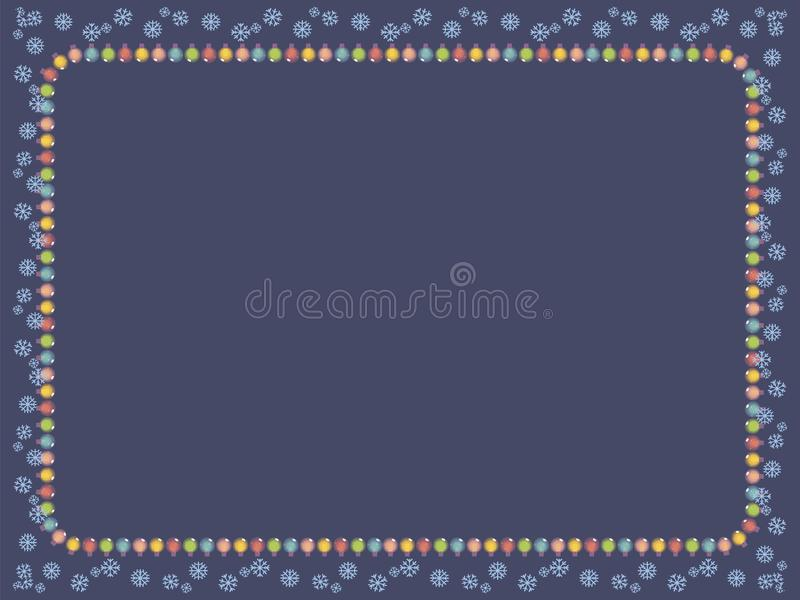 Dunkelblaue Karte mit einem Rahmen einer Girlande der mehrfarbigen leuchtenden Weihnachtsbaumdekorationen und des blauen Schneefl lizenzfreie abbildung