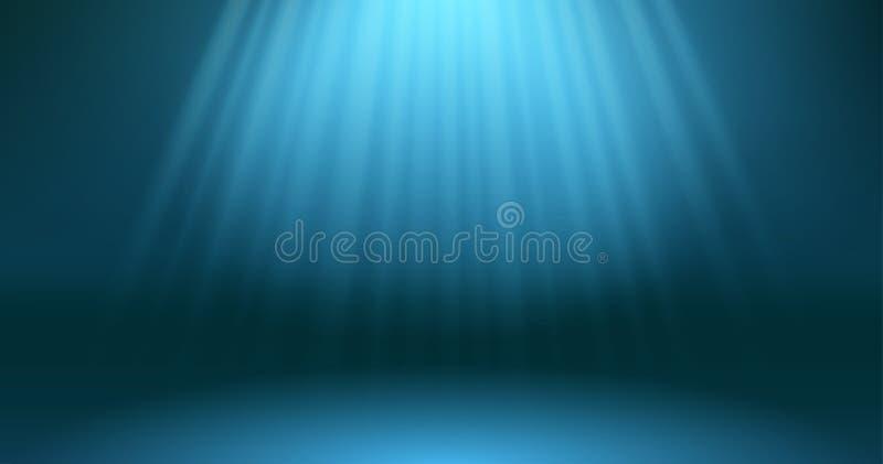 Dunkelblaue Ozeanoberflächen-Tiefenszene Abstrakte Strahlen der Sonne durch die Tiefen des Unterwasserhintergrundes tauchen Blaue lizenzfreie abbildung