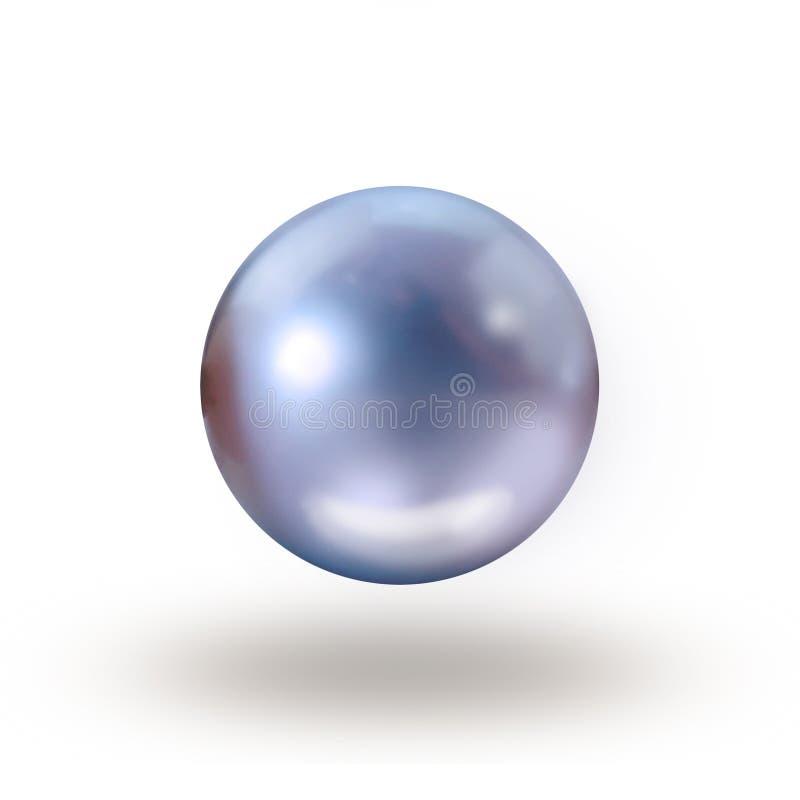Dunkelblaue Perle lokalisiert auf Weiß stockbilder