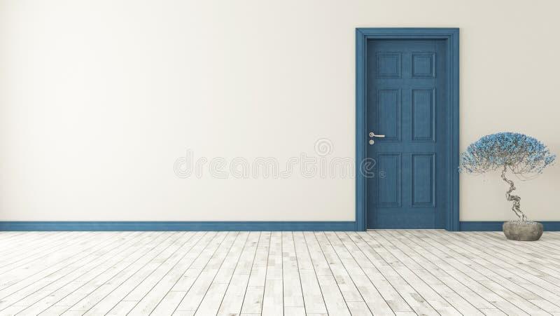 Dunkelblaue Tür mit Wand stock abbildung