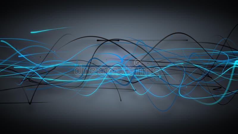 Dunkelblauer Hintergrund der gekrümmten Linien stock abbildung