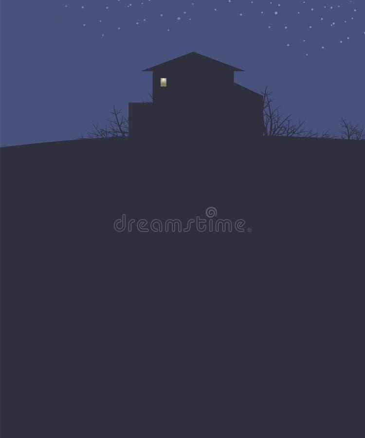 Dunkelblauer Landschaftshimmel mit Sternnachthaus auf einem dunklen Entwurf des Hügels bepflanzt Niederlassungen und helles Licht vektor abbildung