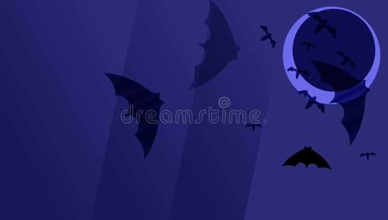 Dunkelblauer Papierhintergrund mit schwarzen Schlägern auf dunklem Mond K?rbiskopf auf dunklem Hintergrund mit Ahornbl?ttern stock abbildung
