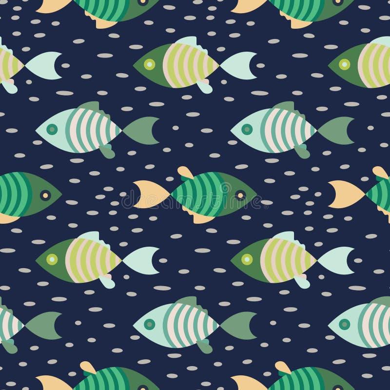 Dunkelblauer und grüner Wiederholungshintergrund des Marinemusters der nahtlosen Fische vektor abbildung