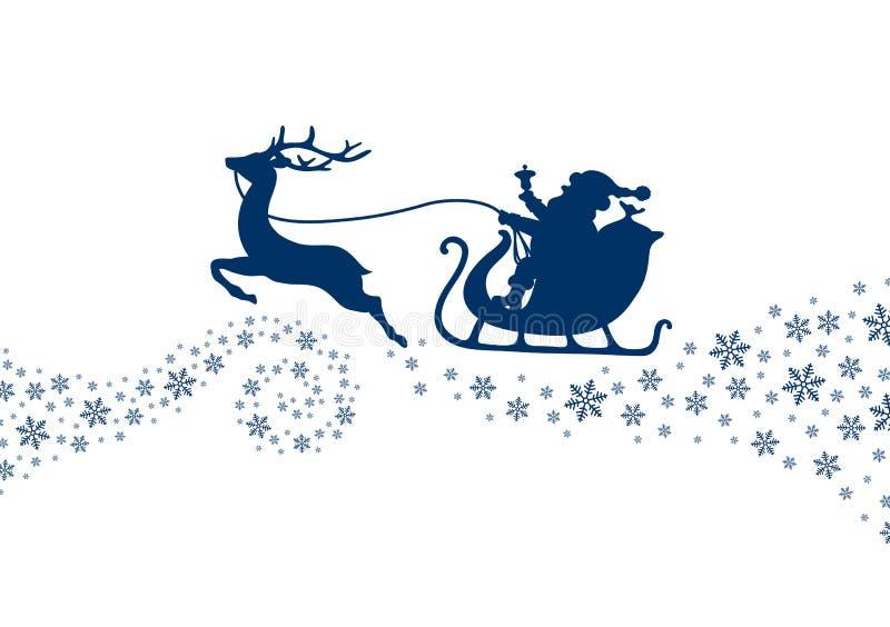 Dunkelblauer Weihnachtspferdeschlitten mit Schneeflocken und Strudel vektor abbildung
