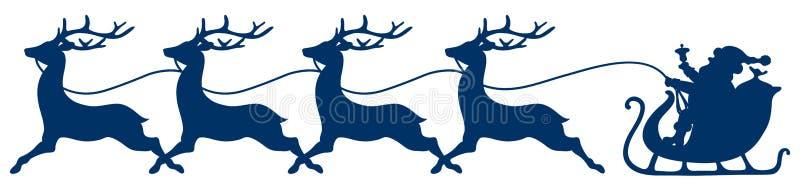 Dunkelblauer Weihnachtspferdeschlitten Santa And Four Running Reindeers vektor abbildung