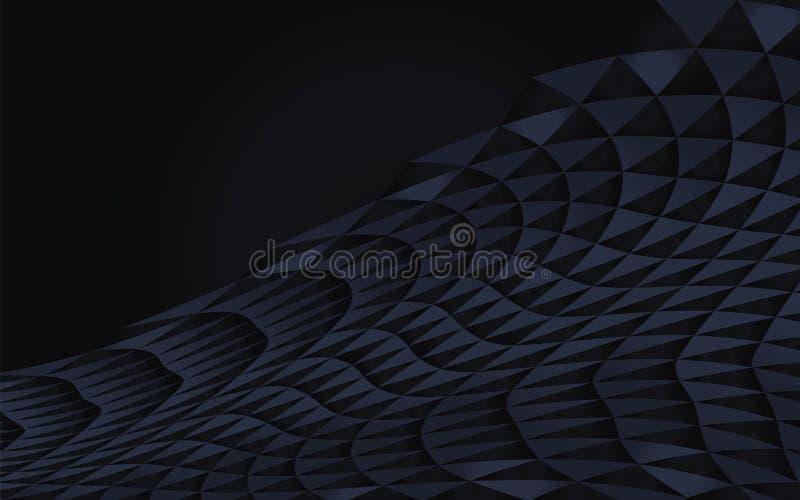 Dunkelblaues abstraktes geometrisches gekurvt vom Dreieckvektor hob Element-Gegenstandde des Halbschattenschwarzwellenschattenvol stock abbildung