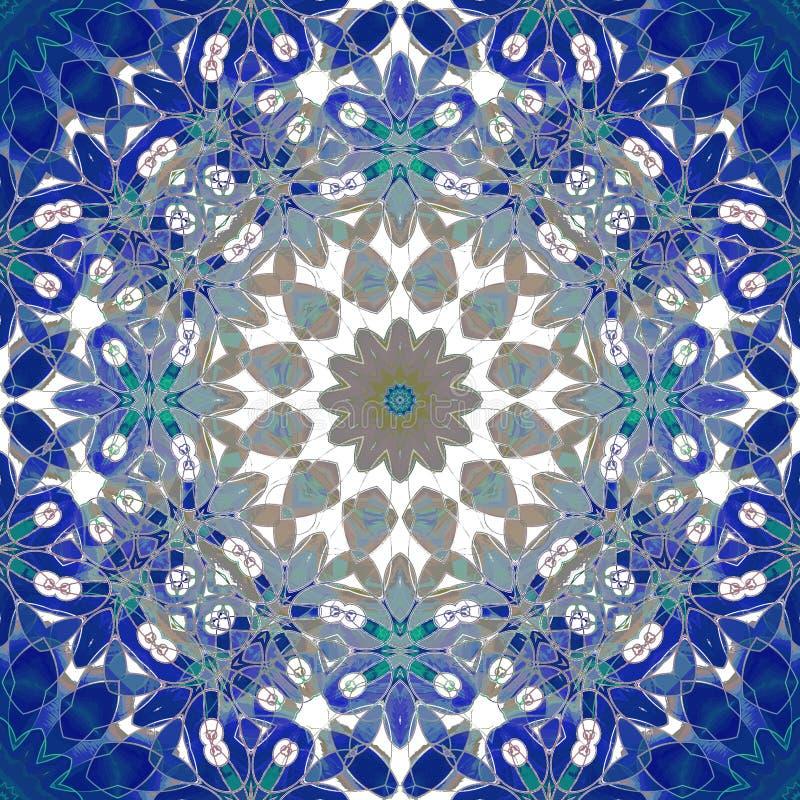 Dunkelblaues, blaues Grau der regelmäßigen runden Blumenverzierung, braun und weiß, aufwändig und träumerisch stock abbildung