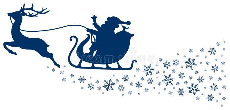 Dunkelblaues Ren des Weihnachtspferdeschlitten-einer mit Schneeflocken lizenzfreie abbildung
