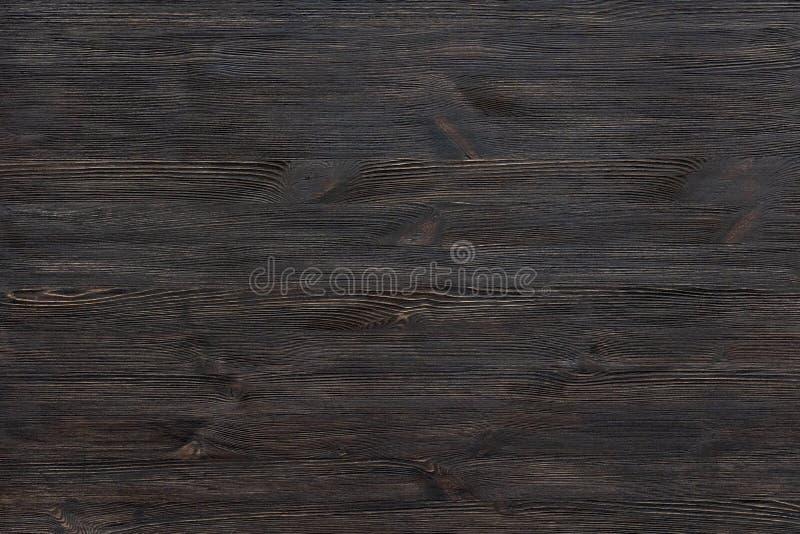 Dunkelbraune schwarze gemalte hölzerne Schreibtischhintergrundtabellenbeschaffenheits-Tabellenstruktur lizenzfreie stockbilder