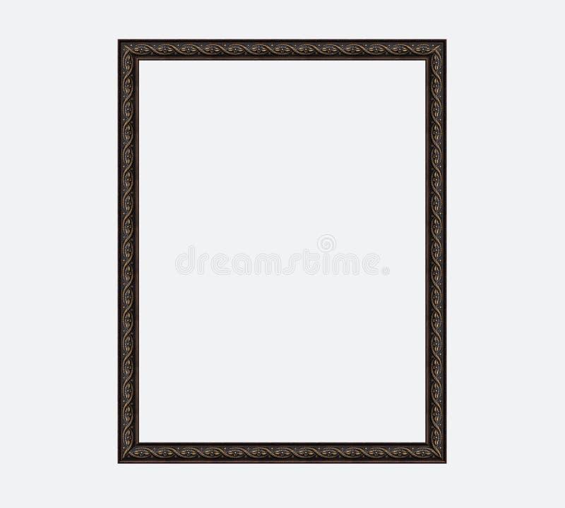 Dunkelbrauner Bilderrahmen der Weinlese mit Vergoldung auf weißem Hintergrund lizenzfreie stockfotos