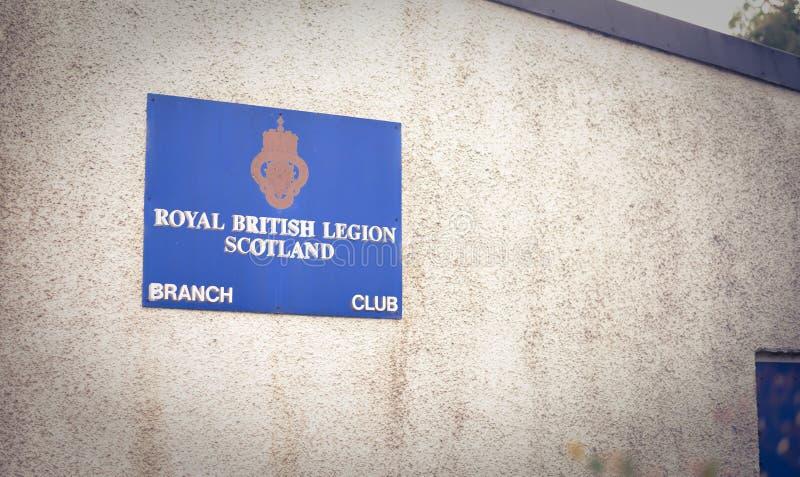 Dunkeld/Ecosse - 7 juillet 2019 : Signe britannique royal de légion photographie stock libre de droits