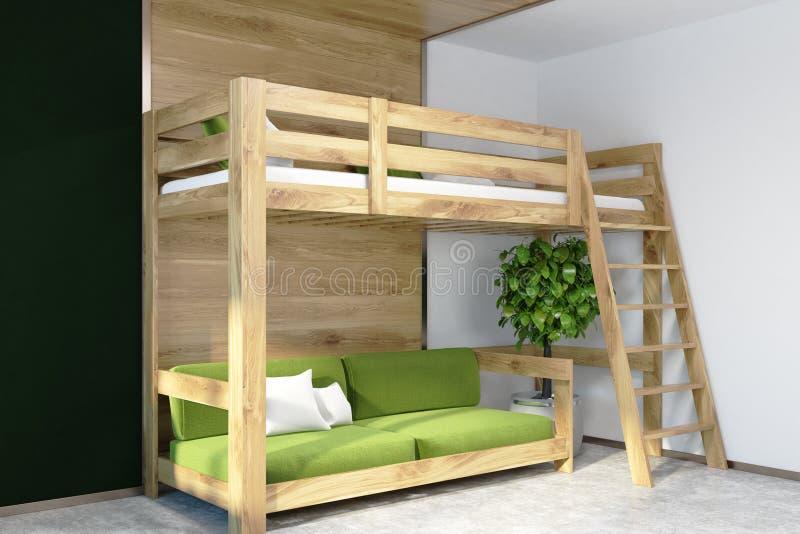 Dunkelgrüne Wandschlafzimmerecke, grünes Hochbett stock abbildung