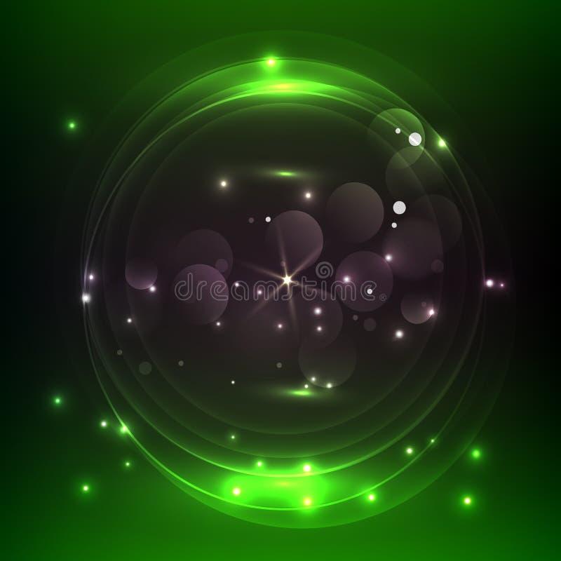 Dunkelgr?ner abstrakter Hintergrund mit gl?henden Neonkreisen, Vektor stock abbildung