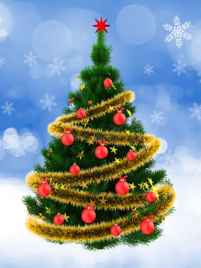 dunkelgrüner 3d Weihnachtsbaum über Schnee stock abbildung