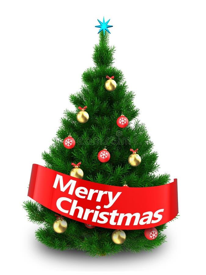 dunkelgrüner 3d Weihnachtsbaum mit Zeichen der frohen Weihnachten stock abbildung