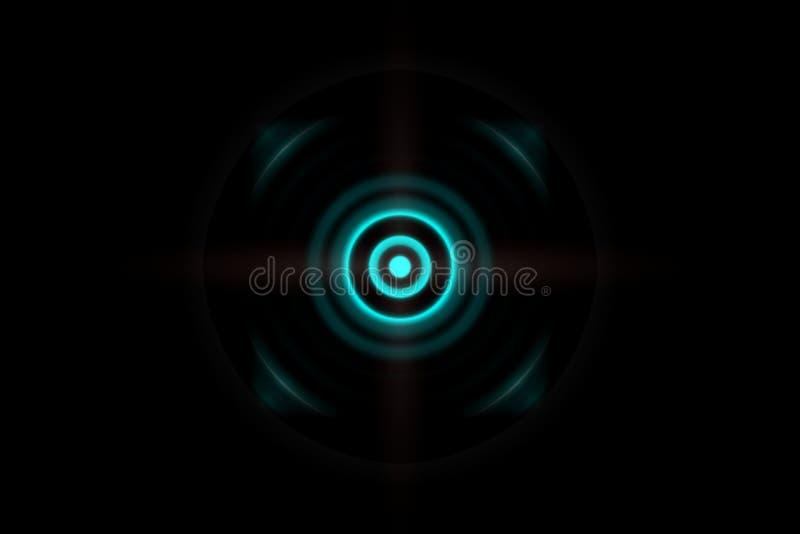 Dunkelgrüner Effekt des Zusammenfassungsauges mit oszillierendem Hintergrund der Schallwellen lizenzfreie abbildung