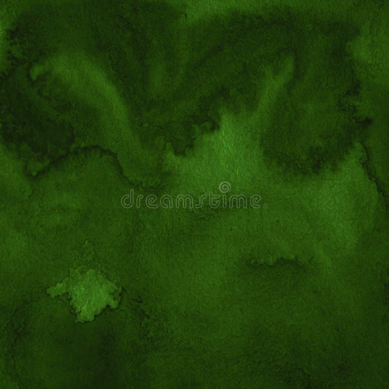 Dunkelgr?ner Aquarellzusammenfassungshintergrund, Fleck, Spritzen der Farbe, Fleck, Scheidung Weinlesemuster f?r Entwurf und Deko stock abbildung