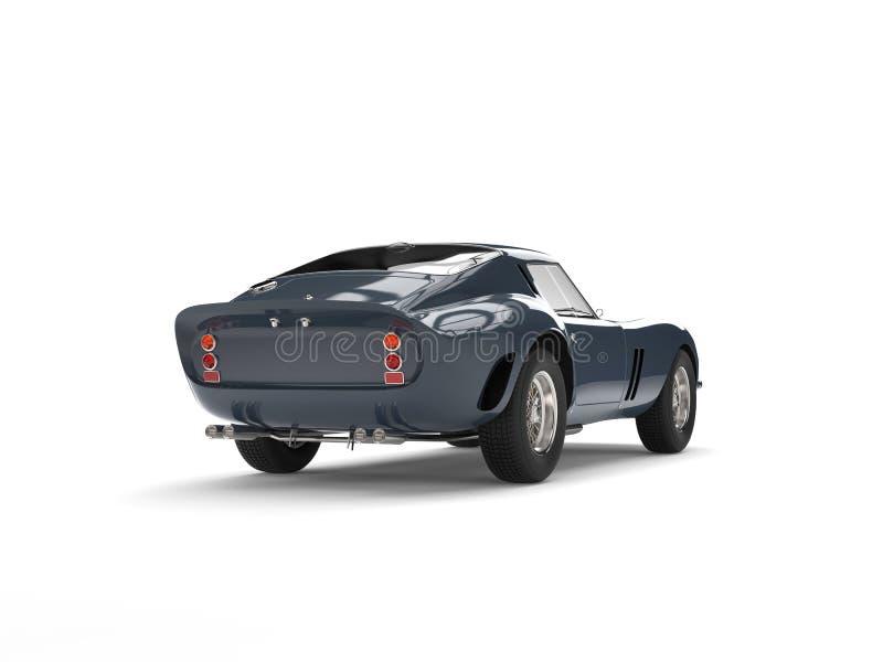 Dunkelgraue blaue Weinlese trägt Motor- Endstückansicht zur Schau vektor abbildung