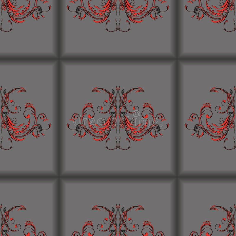 Dunkelgraue Fliesen des nahtlosen Musters mit Weinleseblumenverzierung in der Mitte vektor abbildung