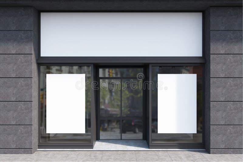 Dunkelgraue und weiße Caféfassade, zwei Poster vektor abbildung