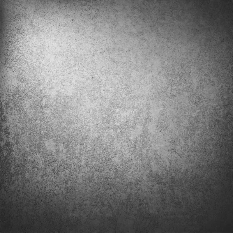 Dunkelgrauer Wandbeschaffenheitshintergrund mit mit abstraktem Höhepunkt und vignetted Ecken als Weinlese-Schmutz-Hintergrundbesch stock abbildung