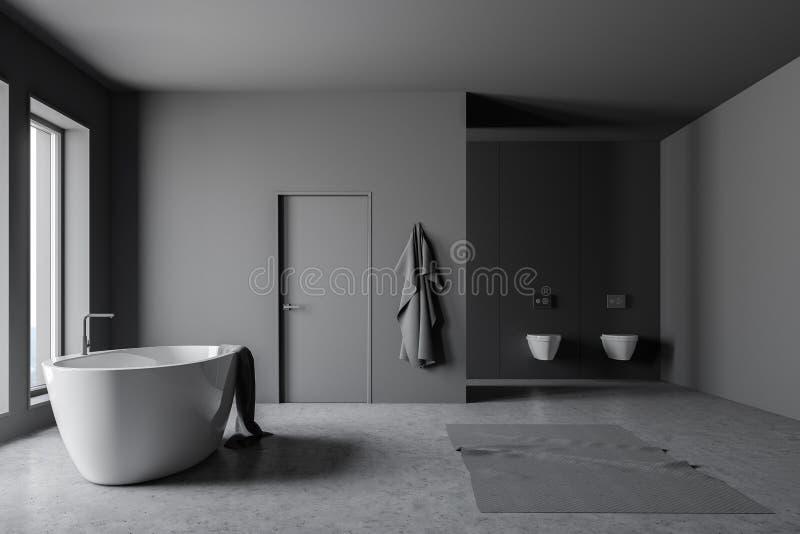 Dunkelgraues Badezimmer mit Wanne und Toiletten vektor abbildung
