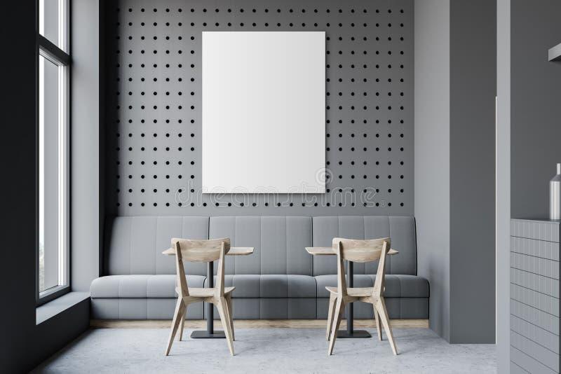 Dunkelgraues Restaurant mit Sofa und Plakat vektor abbildung