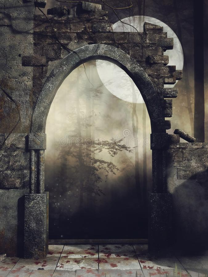 Dunkelheit ruinierte Wand im Wald stock abbildung
