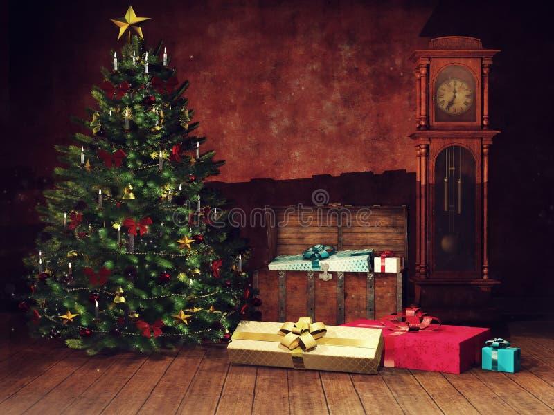 Dunkelkammer mit einem Weihnachtsbaum und einer alten Uhr lizenzfreie abbildung