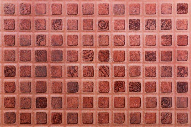 dunkelorangefarbige Keramikziegelbeschaffenheit für Hintergrund und Design lizenzfreies stockbild