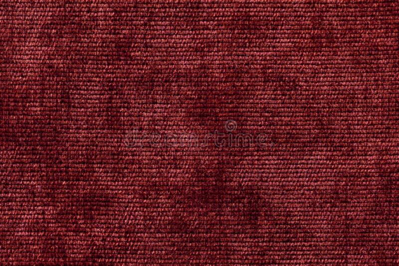 Dunkelroter Hintergrund vom weichen Textilmaterial Gewebe mit natürlicher Beschaffenheit stockbild