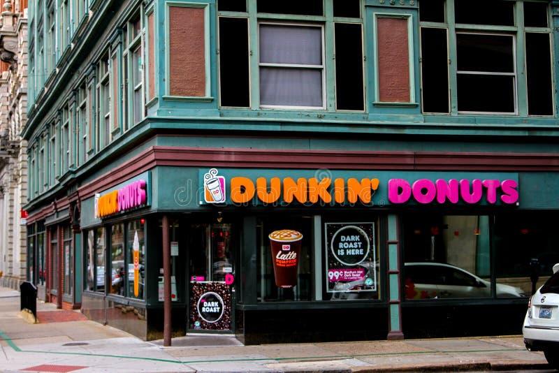 Dunkin油炸圈饼上帝, RI 库存图片
