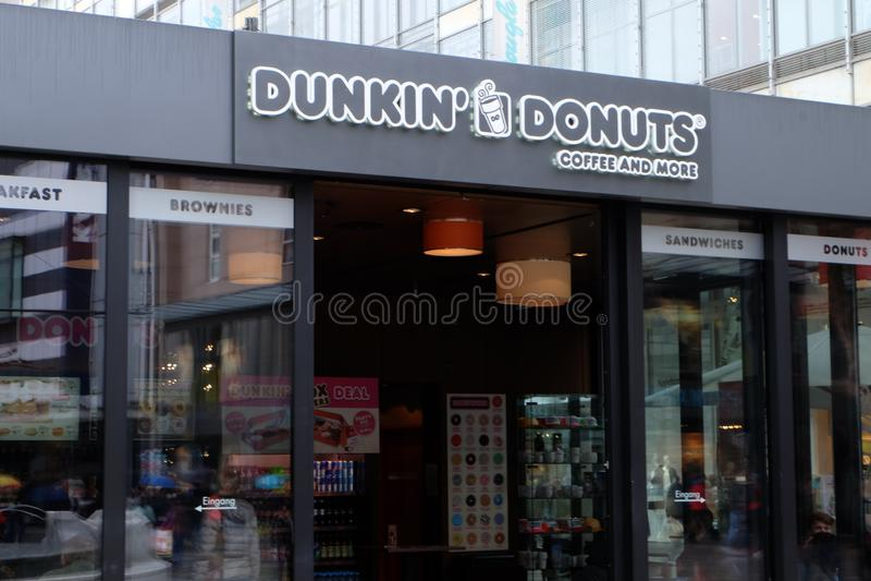 Dunkin` Donuts Coffee Shop in Frankfurt stock photo
