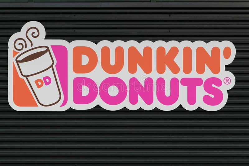 Dunkin donuts teken royalty-vrije stock afbeeldingen