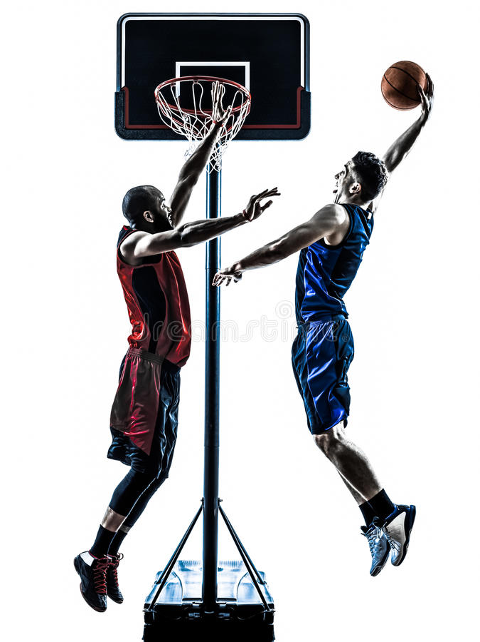 Dunking σκιαγραφία άλματος ατόμων παίχτης μπάσκετ στοκ εικόνα με δικαίωμα ελεύθερης χρήσης