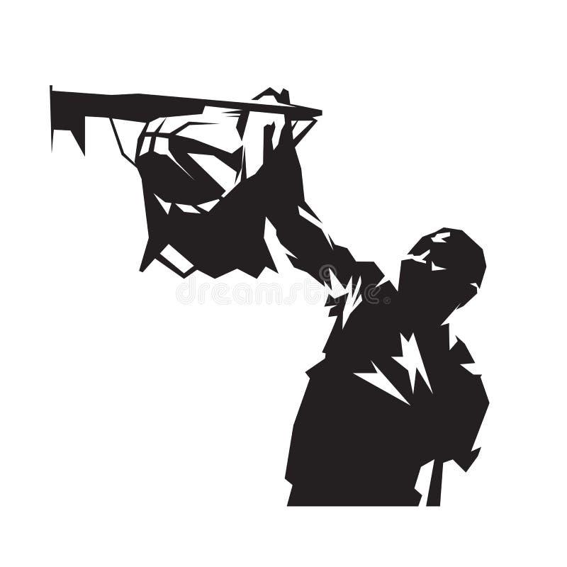 Dunking σφαίρα παίχτης μπάσκετ, απομονωμένη διανυσματική σκιαγραφία ελεύθερη απεικόνιση δικαιώματος
