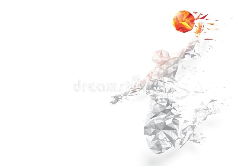 Dunking абстрактного низкого баскетболиста полигона скача на белой предпосылке иллюстрация штока